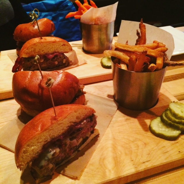 We split each burger- Bahn Mi and Duck